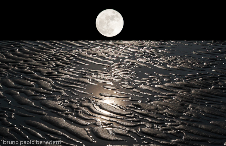 moon on earth with receeding water