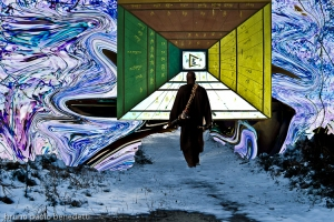 one man is walking on a bridge in multicolored sky with snow toward a door with tibetan symbols