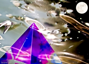 emerging colored pyramid in light, surrealism photography