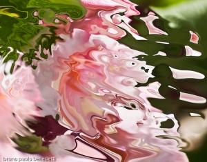 pink shape seeming liquid in acquerello texture