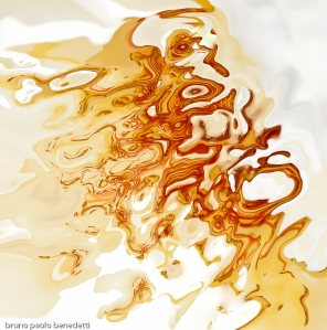 orange fluid shapes with many shades on white background in acquerello texure