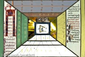 surreal corridor with scipts of bible in ancient hebrew, gospel in ancient greek, tibetan scripts, image of garuda and light
