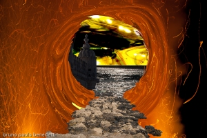 stone bridge in the sky with firestorm with a hole and a surreal landscape beyond