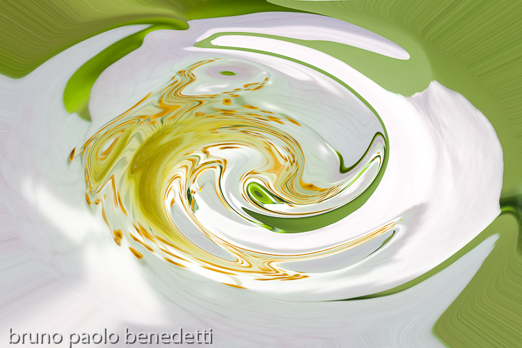 white round fluid shape with green shades inside