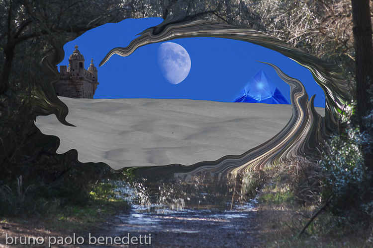opening tunnel in a forest and dream landscape with snow, fort, hyaline quatz pyramid and moon