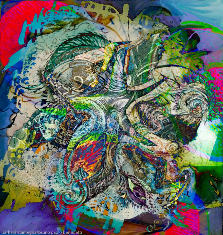mottled multicolored abstract composition: image with detailed objects and shapes