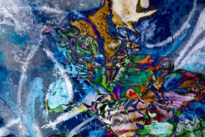 colorful mottled image with irregular shapes and forms