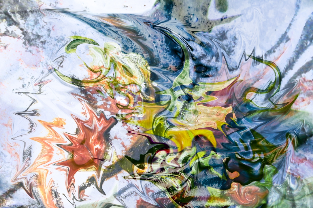 fluid objects art abstraction: colorful mottled image with floating shapes fusion art image