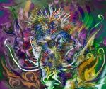 multicolored image with fluid forms and spiny central figure