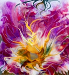 multicolored image with central yellow abstract fluid flower
