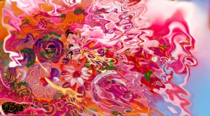 liquid image with flowers and fluid shapes on blurred background