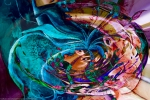 colors vortex image with swirling objects and shades