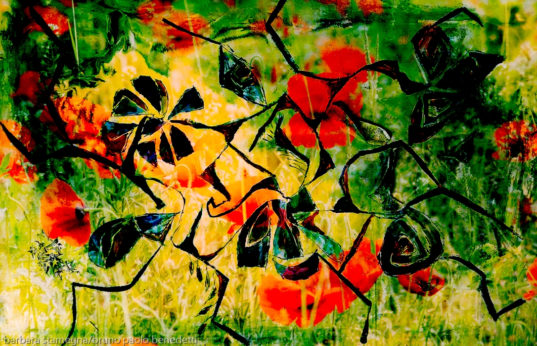 green and yellow abstract flowery meadow with red flowers and abstract floating flower shapes pattern