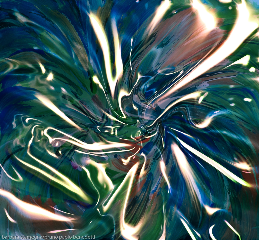 fluid shining vortex abstract art image in dominant blue and green colors with white converging shapes