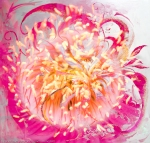 soft sparkling energy vortex abstract art image with yellow floating abstract shapes in a fuchsia color like whirlpool