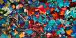 dappled abstract art composition with mulltiform colored shapes in dominant red and blue tones