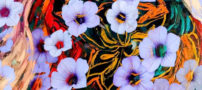 abstraction of floating ethereal indigo flowers like art image on multicolored mottled background